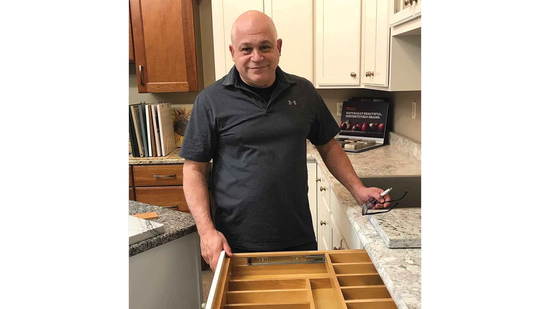 Dave Lloyd demonstrates a two-level silverware drawer.