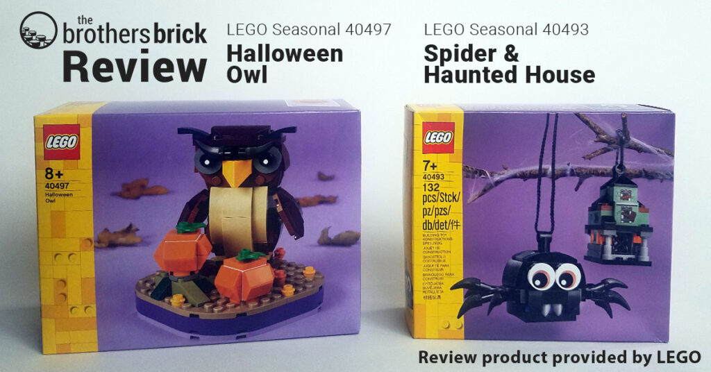 LEGO Iconic 40493 Halloween Owl and 40497 Spider & Haunted House ornaments [Review] | The Brothers Brick